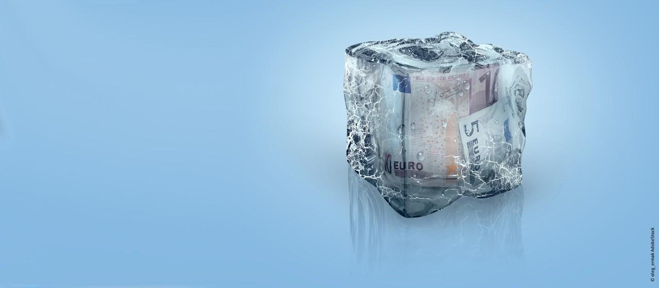eingefrorene Euroscheine